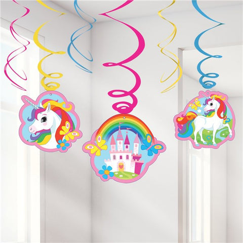 Unicorn Hanging Swirl Decorations - 80cm (6pk)