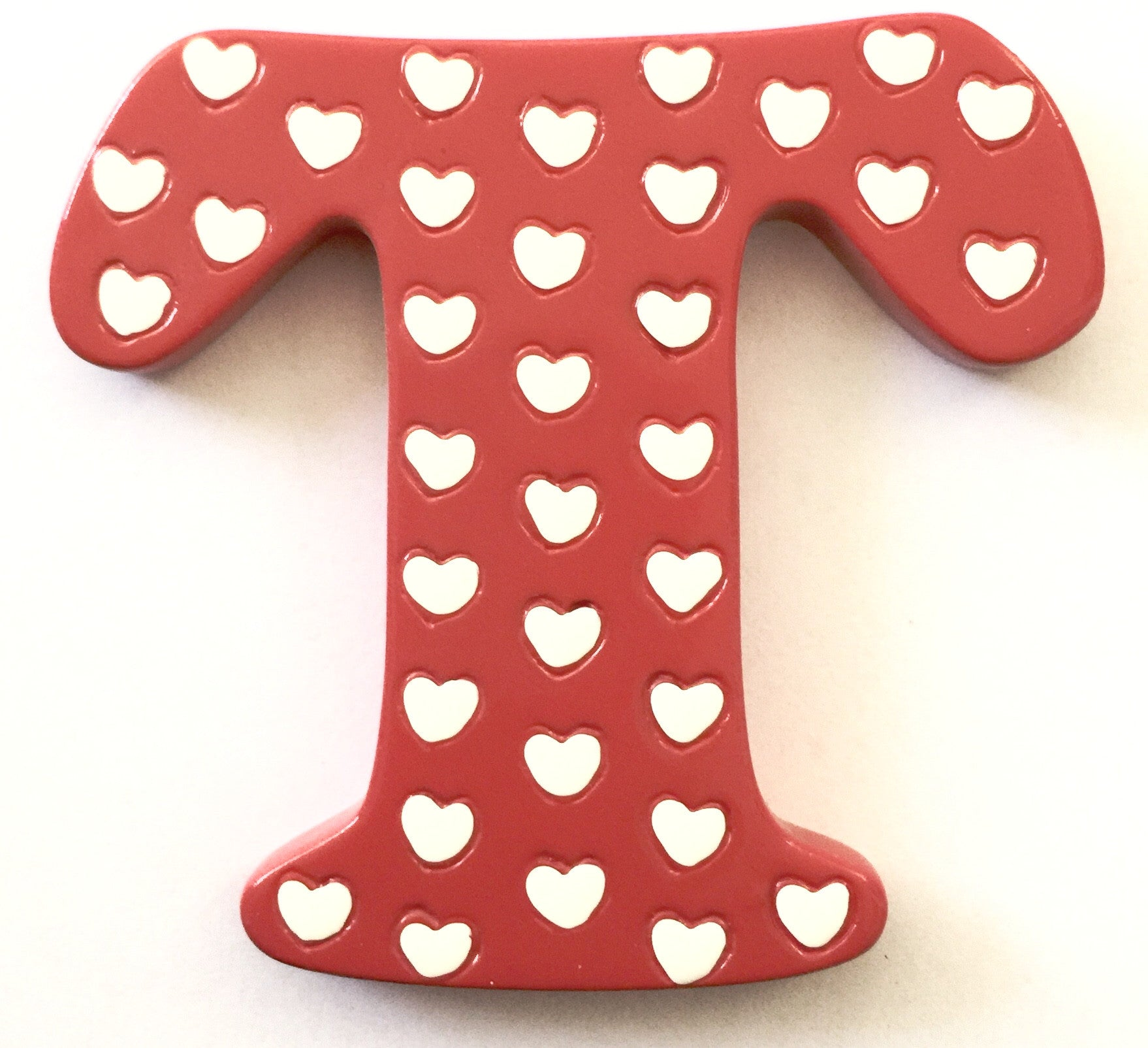 Bobble Art Door Letter T Red White Hearts