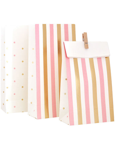 Gold & Pink, Stripe & Spots Treat Bag - Pack of 10