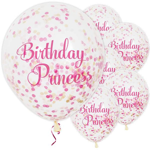 "Birthday Princess Pink Confetti Party Balloons - 12"" / 3cm Latex (pack of 6) ~"