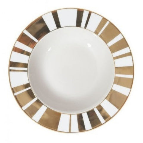 Cristina Re Bowl Sinatra Stripes Gold and Ivory 23 cm Fine Porcelain