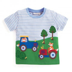 Jojo Maman Bebe Fox Farmers T-Shirt Blue/Ecru Stripe 5-6 years