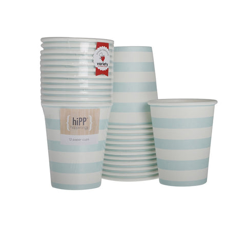 Duck Egg Blue Stripe Cups (12), , Cups, Hipp, Party Twinkle | PO BOX 3145 BRIGHTON VIC 3186 AUSTRALIA | www.partytwinkle.com.au