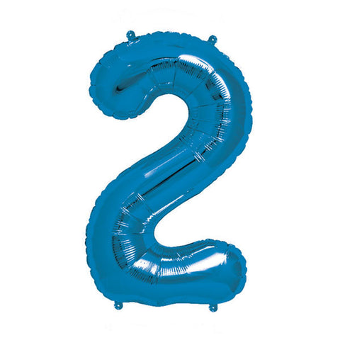 "Blue Number 2 Balloon - 16"" / 40 cm Foil (each)"