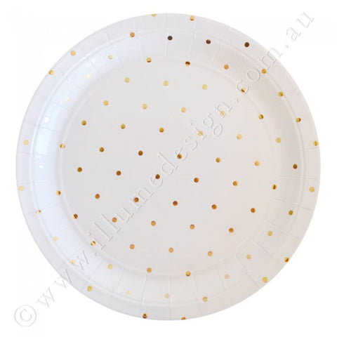 Gold Spots / Dots  Large Plates - Pack of 10