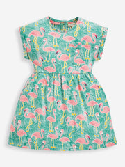 Jojo Maman Bebe Girl's Flamingo Jersey Dress with Pockets 3-4 years
