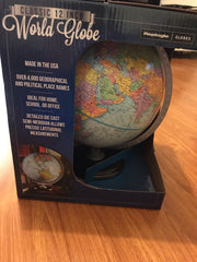 "Replogle Classic 12"" / 30cm World Globe Blue Colour - Brand New Made in USA"