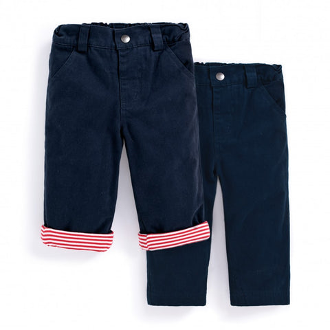 Jojo Maman Bebe Jersey Lined Twill Trousers Navy 4-5 years
