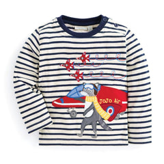 Jojo Maman Bebe Racoon Pilot Top Ecru/Navy Stripe (3-4 years)