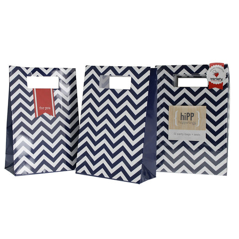 * Hipp Navy Chevron Party Bags and Seals (12), , Favor Bags Accessories , Hipp, Party Twinkle | PO BOX 3145 BRIGHTON VIC 3186 AUSTRALIA | www.partytwinkle.com.au