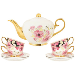 Cristina Re Tea Set 4 Cup Floral - New Bone China