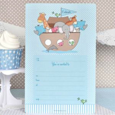 Noah's Ark Blue Invitations, , Invitations, Illume Design, Party Twinkle | PO BOX 3145 BRIGHTON VIC 3186 AUSTRALIA | www.partytwinkle.com.au
