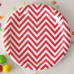 Red Chevron Large Plates (12), , Party Plate, Illume Design, Party Twinkle | PO BOX 3145 BRIGHTON VIC 3186 AUSTRALIA | www.partytwinkle.com.au