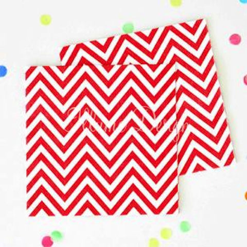 Red Chevron Party Napkins, , Napkins, Illume Design, Party Twinkle | PO BOX 3145 BRIGHTON VIC 3186 AUSTRALIA | www.partytwinkle.com.au