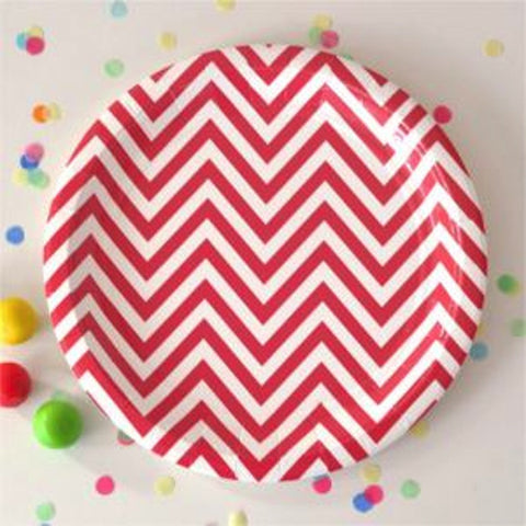 Red Chevron Dessert Plates - Pack of 12, , Cake Plates, Illume Design, Party Twinkle | PO BOX 3145 BRIGHTON VIC 3186 AUSTRALIA | www.partytwinkle.com.au