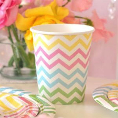 Chevron Pastels Party Cups - pack of 12, , Cups, Illume Design, Party Twinkle | PO BOX 3145 BRIGHTON VIC 3186 AUSTRALIA | www.partytwinkle.com.au