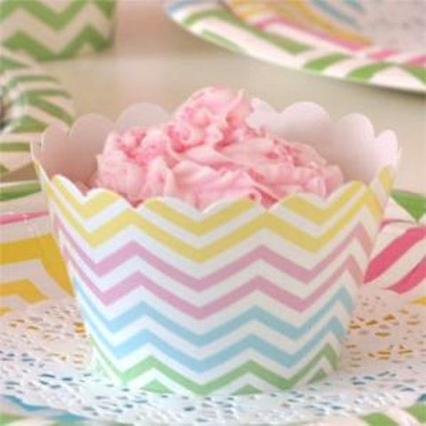 * Illume Design Chevron Pastels Party Cupcake Wrappers - pack of 12, , Cupcake Wrappers, Illume Design, Party Twinkle | PO BOX 3145 BRIGHTON VIC 3186 AUSTRALIA | www.partytwinkle.com.au