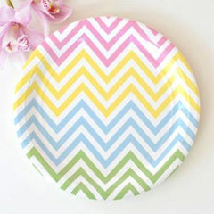Chevron Pastels Large Plates - Pack of 12, , Party Plate, Illume Design, Party Twinkle | PO BOX 3145 BRIGHTON VIC 3186 AUSTRALIA | www.partytwinkle.com.au
