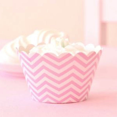 * Illume Design Pink Chevron Cupcake Wrappers (12), , Cupcake Wrappers, Illume Design, Party Twinkle | PO BOX 3145 BRIGHTON VIC 3186 AUSTRALIA | www.partytwinkle.com.au