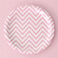 Pink Chevron Large Party Plates (12), , Party Plate, Illume Design, Party Twinkle | PO BOX 3145 BRIGHTON VIC 3186 AUSTRALIA | www.partytwinkle.com.au