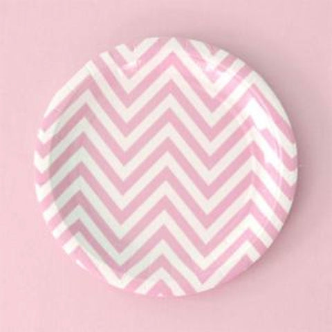 Pink Chevron Cake Plates - Pack of 12, , Cake Plates, Illume Design, Party Twinkle | PO BOX 3145 BRIGHTON VIC 3186 AUSTRALIA | www.partytwinkle.com.au