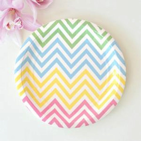 Chevron Pastels Dessert Plates - Pack of 12, , Cake Plates, Illume Design, Party Twinkle | PO BOX 3145 BRIGHTON VIC 3186 AUSTRALIA | www.partytwinkle.com.au
