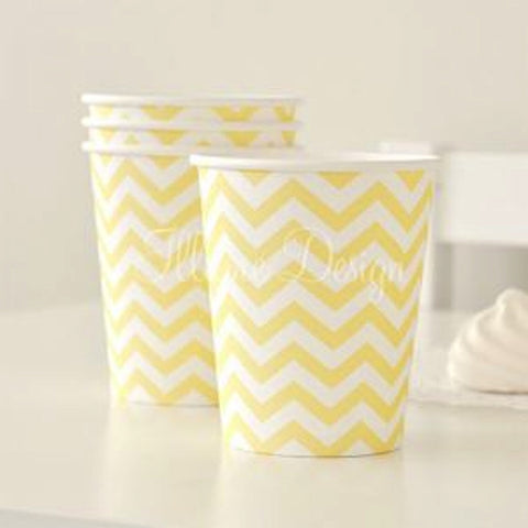 Yellow Chevron Party Cups - pack of 12, , Cups, Illume Design, Party Twinkle | PO BOX 3145 BRIGHTON VIC 3186 AUSTRALIA | www.partytwinkle.com.au