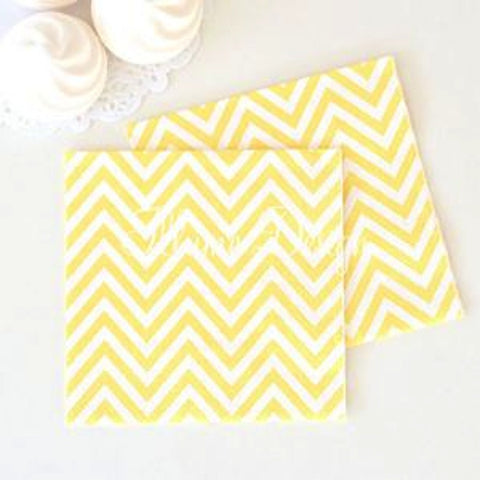 Yellow Chevron Party Napkins, , Napkins, Illume Design, Party Twinkle | PO BOX 3145 BRIGHTON VIC 3186 AUSTRALIA | www.partytwinkle.com.au