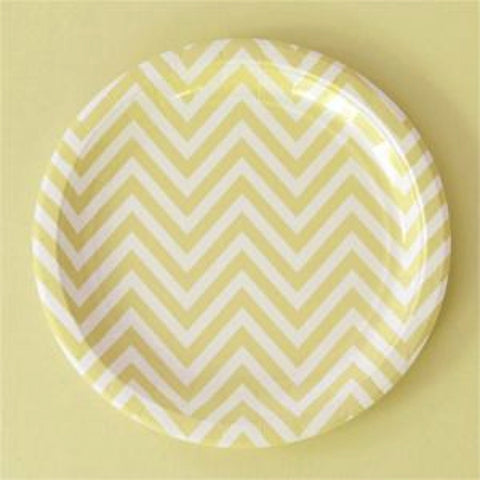 Yellow Chevron Dessert Plates - Pack of 12, , Cake Plates, Illume Design, Party Twinkle | PO BOX 3145 BRIGHTON VIC 3186 AUSTRALIA | www.partytwinkle.com.au