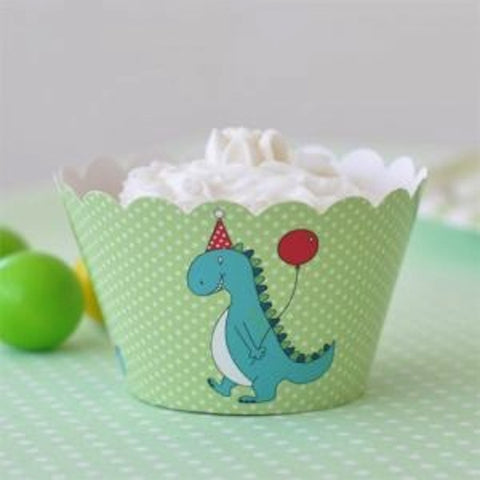 Dinosaur Cupcake Wrappers - pack of 12, , Cupcake Wrappers, Illume Design, Party Twinkle | PO BOX 3145 BRIGHTON VIC 3186 AUSTRALIA | www.partytwinkle.com.au