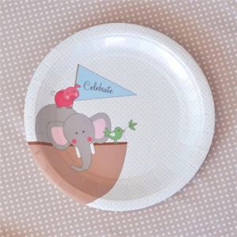 Noah's Ark Blue Dessert Plates - Pack of 12, , Cake Plates, Illume Design, Party Twinkle | PO BOX 3145 BRIGHTON VIC 3186 AUSTRALIA | www.partytwinkle.com.au