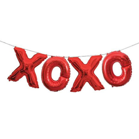 "XOXO Red Phrase Balloon Bunting - 35 cm / 14"" Foil"