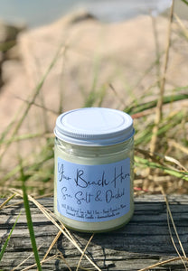 "9oz clear jar customizable ""Your Beach Here"" Sea Salt & Orchid"