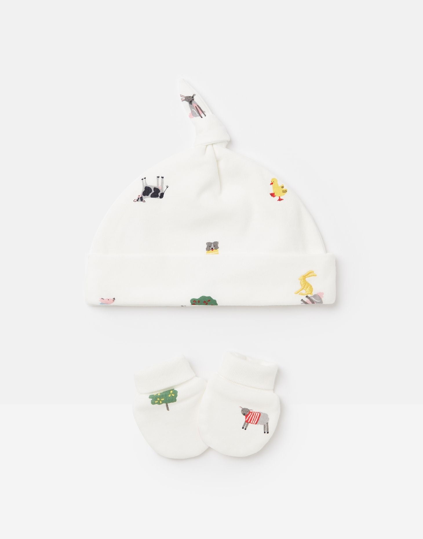 Joules farm print hat and scart set