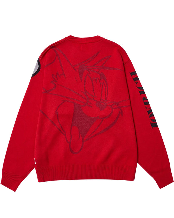 Tom & Jerry Crew Pullover Sweater</Br>Red</Br>