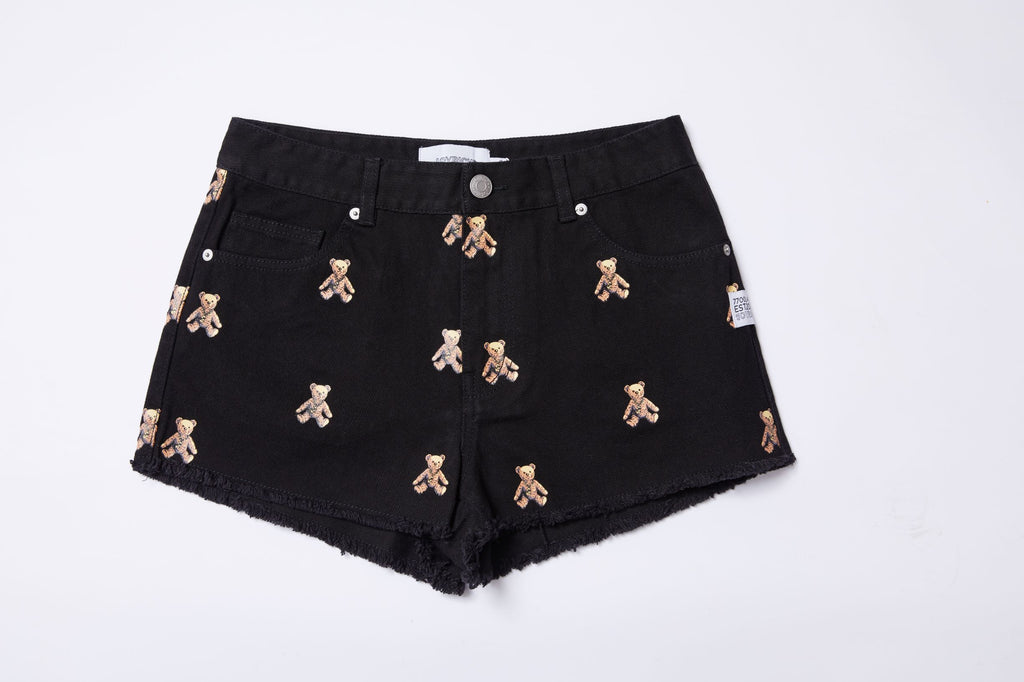 Joyrich Rock Teddy Denim Shorts</Br>Black</Br>