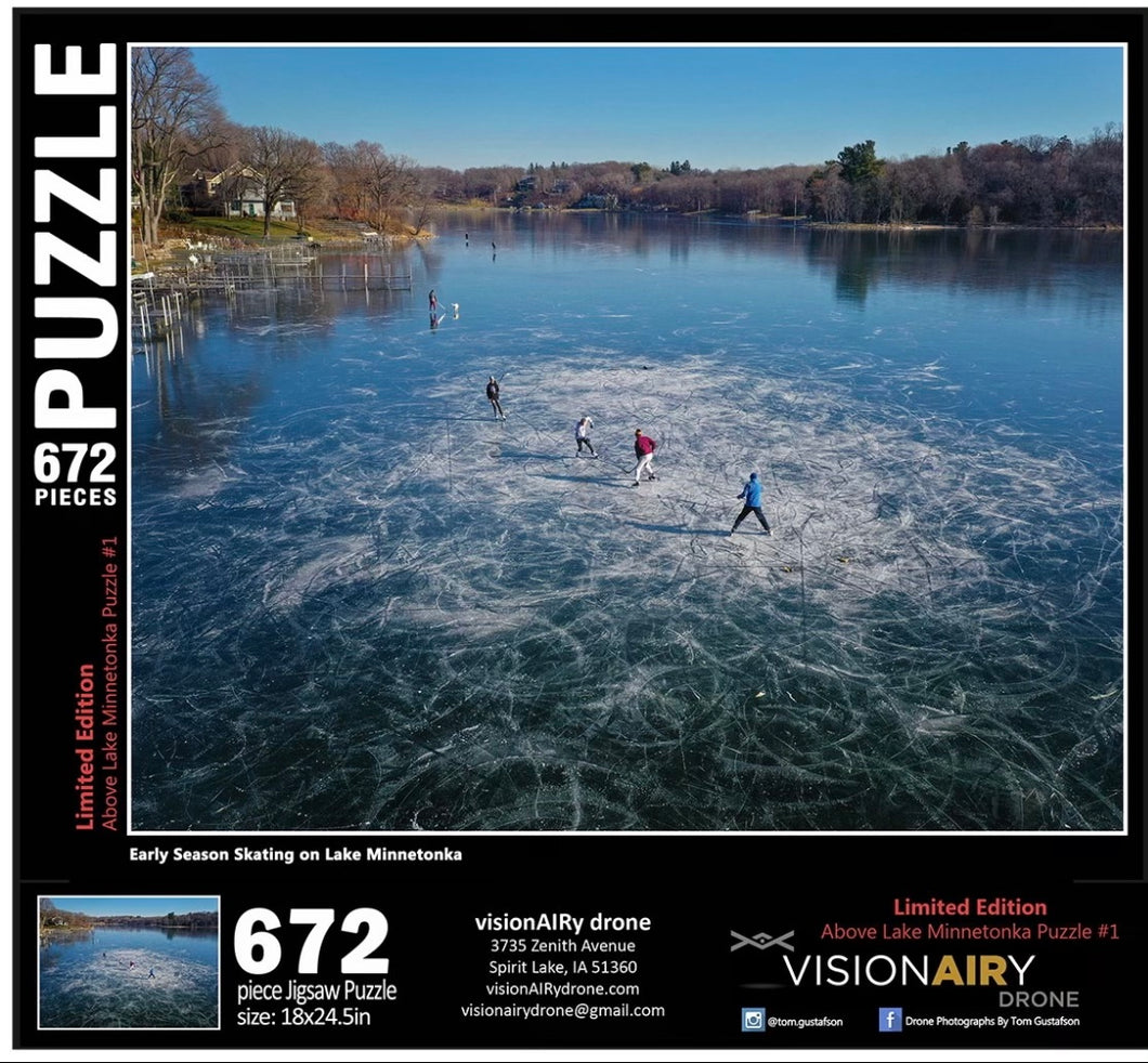 PRE-ORDER FOR MID JANUARY DELIVERY  Early Season Skating on Lake Minnetonka Jigsaw Puzzle