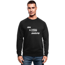 Load image into Gallery viewer, Java Is Not JavaScript | Men's Organic Sweatshirt by Stanley & Stella - black