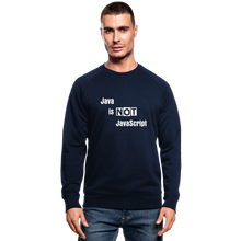 Load image into Gallery viewer, Java Is Not JavaScript | Men's Organic Sweatshirt by Stanley & Stella - navy
