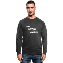 Load image into Gallery viewer, Java Is Not JavaScript | Men's Organic Sweatshirt by Stanley & Stella - dark grey heather
