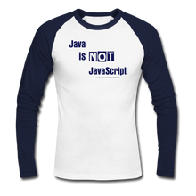 Load image into Gallery viewer, Java Is Not JavaScript | Men's Long Sleeve Baseball T-Shirt - white/navy