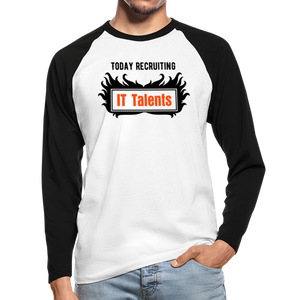Today Recruiting | Men's Long Sleeve Baseball T-Shirt - white/black