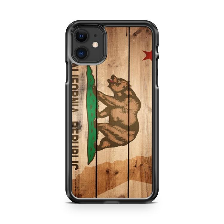 California State Flag US State Wood iphone 5/6/7/8/X/XS/XR/11 pro case cover