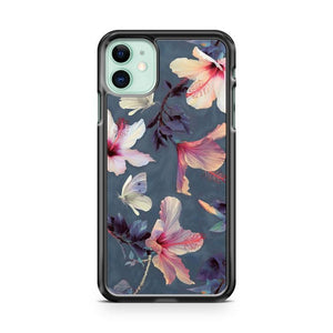 BUTTERFLIES AND HIBISCUS FLOWERS iphone 5/6/7/8/X/XS/XR/11 pro case cover - Goldufo Case