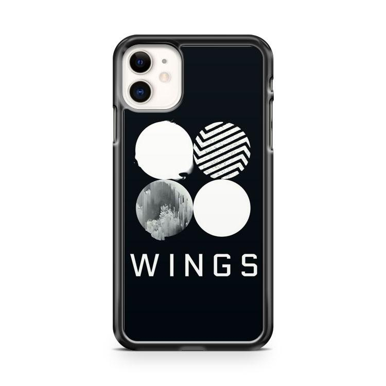 BTS Wings Logo Black iphone 5/6/7/8/X/XS/XR/11 pro case cover