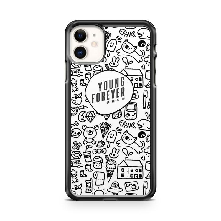 BTS YOUNG FOREVER DOODLE iphone 5/6/7/8/X/XS/XR/11 pro case cover - Goldufo Case