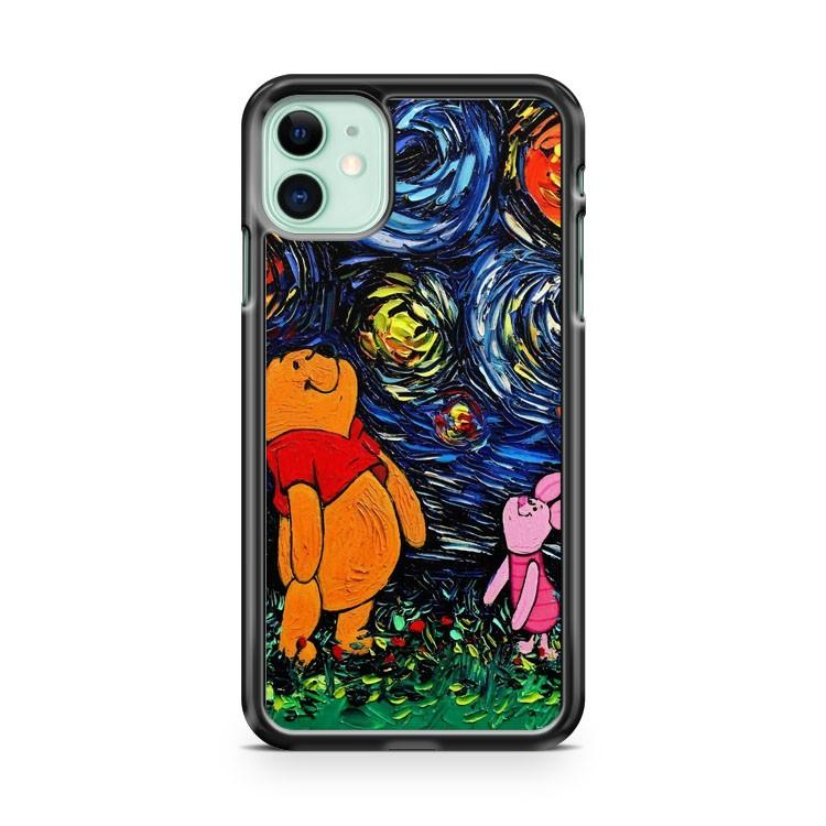 Winnie The Pooh Art Starry Night Pooh and Piglet 2 iphone 5/6/7/8/X/XS/XR/11 pro case cover