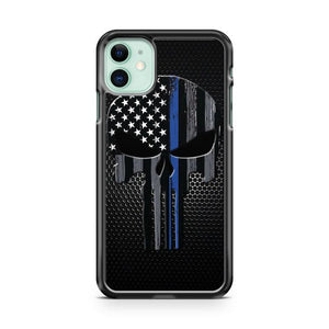 Punisher Skull American Flag Police Thin Blue Line iphone 5/6/7/8/X/XS/XR/11 pro case cover