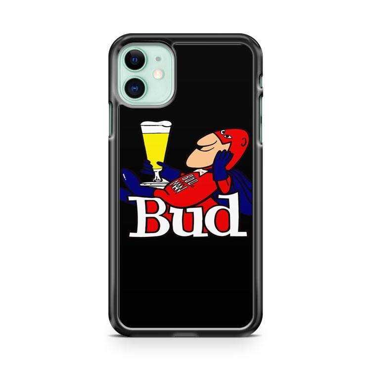 Budweiser Bud Man Light Cave Beer Bar Neon Black iphone 5/6/7/8/X/XS/XR/11 pro case cover