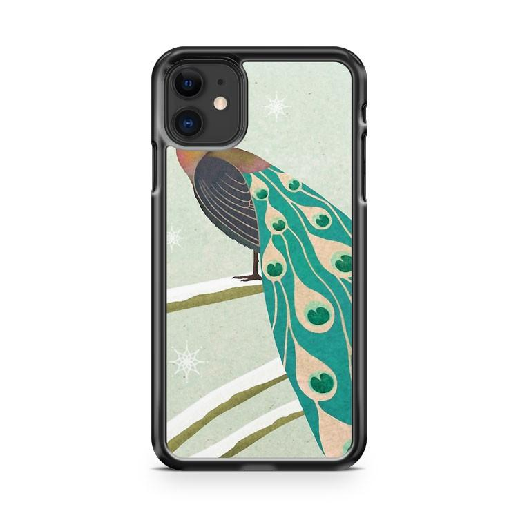 winter christmas peacock iphone 5/6/7/8/X/XS/XR/11 pro case cover
